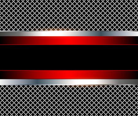 3D background red metalic, vector illustration.