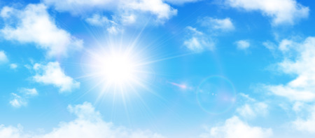 Sunny background, blue sky with white clouds and sun, vector illustration.