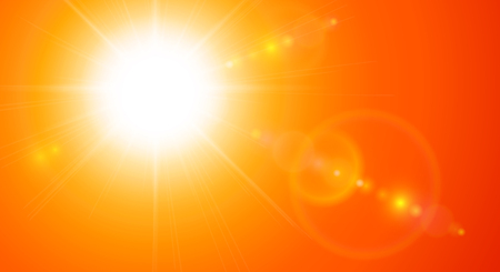 Orange sunny background, sun with lens flare, vector illustration 向量圖像