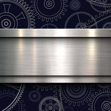 Fond avec engrenages de technologie et bannière métallique, illustration vectorielle. Vecteurs