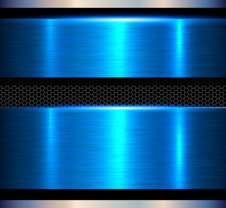 Metal background, blue polished metallic texture banners, vector illustration
