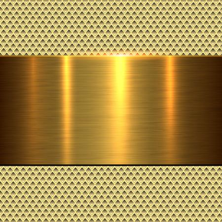 Background gold, polished metal texture, vector illustration. Illustration