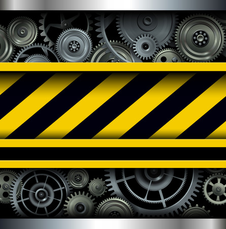 Background with warning stripes and gears, under construction site concept. 向量圖像