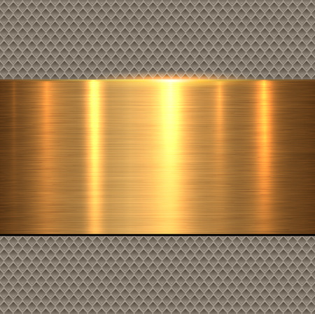 Background gold, polished metal texture, vector illustration. Ilustração