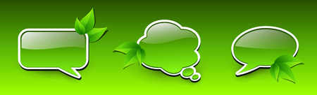 Web green icons, spring chat bubbles with leaves, 3D  vector green badges. Illustration