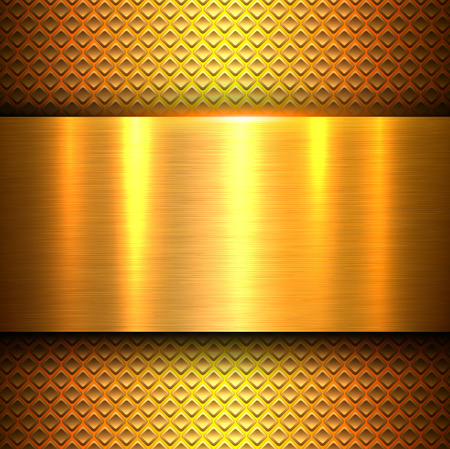 Metal background, orange gold polished metallic texture banner, vector illustration