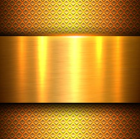 Metal background, orange gold polished metallic texture banner, vector illustration
