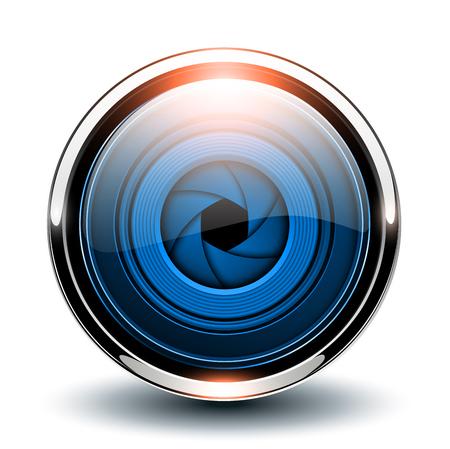 Bouton brillant bleu avec obturateur de caméra à l'intérieur, icône métallique 3d vectorielle.
