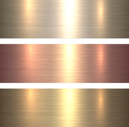 Metal textures warm colors, brushed metallic backgrounds, vector illustration. Illustration