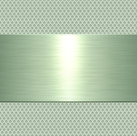 Metallic background, green metal plate texture - vector polished metal Illustration
