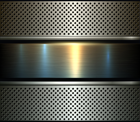 Background metal design over perforated texture, vector illustration.