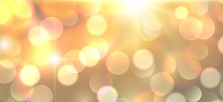 Background orange with glittering bokeh lights, vector illustration
