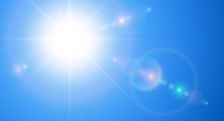 Sunny background, blue sky with sun and lens flare, vector illustration.
