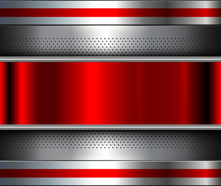 Metallic background silver red, polished steel texture, vector design.