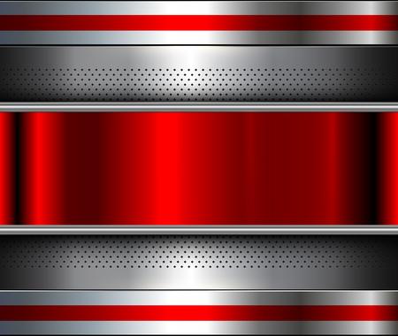 Metallic background silver red, polished steel texture, vector design. Reklamní fotografie - 95191827
