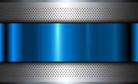 Fondo metálico plata azul, textura de acero pulido, diseño vectorial.