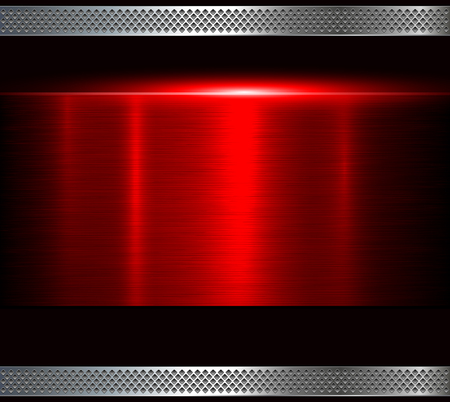 Metal background, red polished metallic texture, vector illustration Vectores