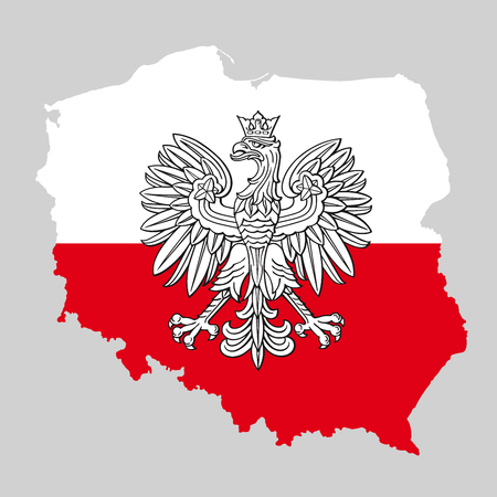 Poland map with eagle and white red polish flag, vector national emblem. Reklamní fotografie - 95646501