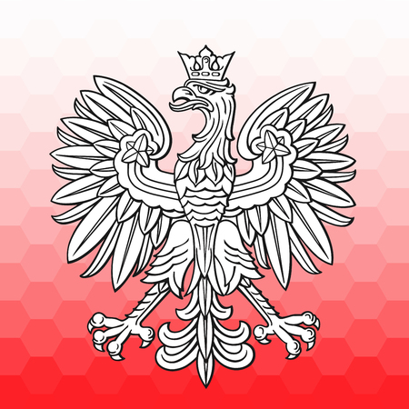 Poland eagle over white red mosaic as patriotic background, vector national emblem. 矢量图像