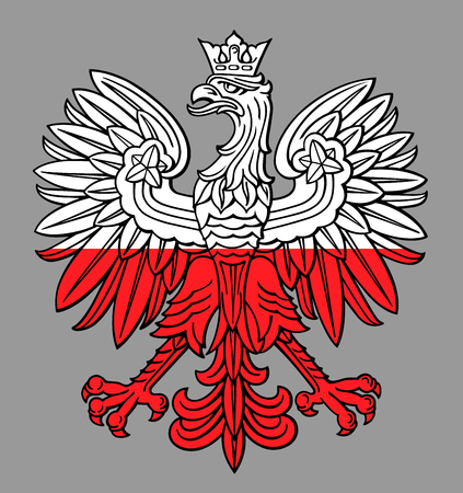 Poland eagle in national white and red colors vector.