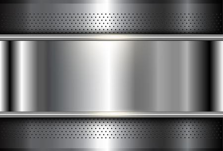 Metallic background polished steel texture, vector design. 向量圖像