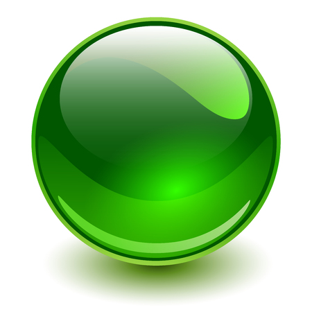 Glass sphere, green vector ball.