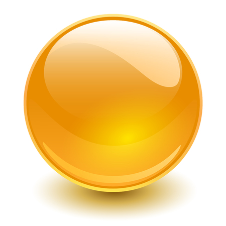 Glass sphere, orange vector ball.