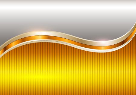 Background gold metallic with copy space, vector illustration.
