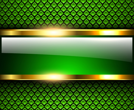 Abstract background glossy and shiny green metallic, vector illustration. Vettoriali