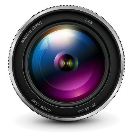 Lente fotográfica de la cámara, ilustración vectorial. Ilustración de vector