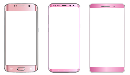 Smartphones, pink mobile phones isolated with blank screen