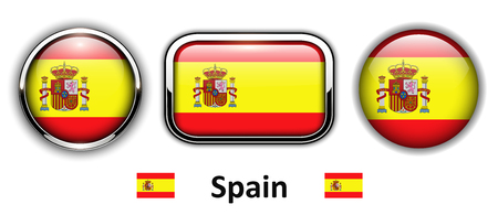 Spain flag buttons, 3d shiny vector icons.