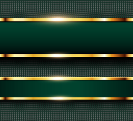 Business background green, banners with gold metallic elements over dots pattern background, vector illustration.
