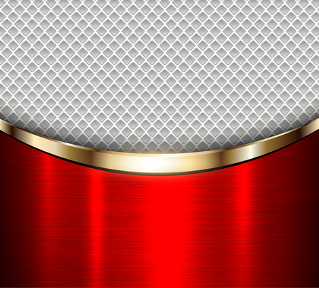Background red metalic texture over grey perforated background, vector illustration.
