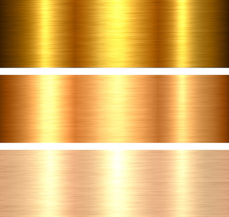 Gold metal backgrounds golden brushed metallic textures with reflections.