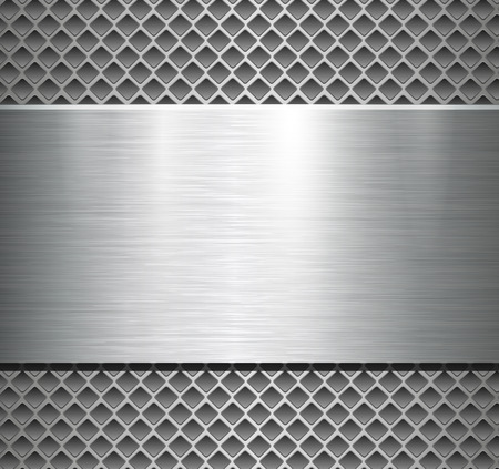 Metallic background silver polished steel texture over perforated background, vector design.