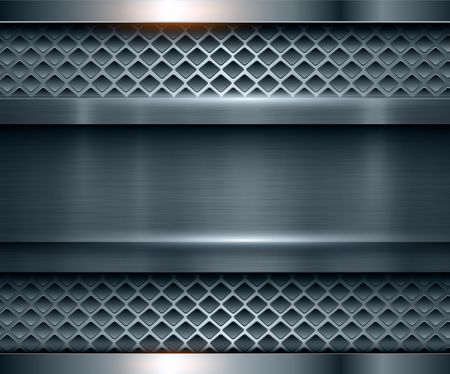 Background metallic blue with brushed metal texture, vector illustration.  イラスト・ベクター素材