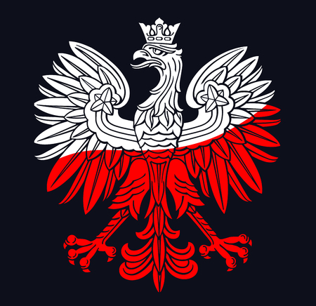 Poland eagle in national white, red colours, as patriotic background, vector national emblem.