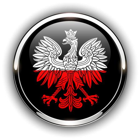 Poland flag button with eagle, 3d shiny vector icon.