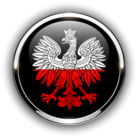 Poland flag button with eagle, 3d shiny vector icon.