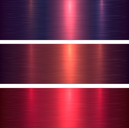 Metal textures pink and purple brushed metallic background, vector illustration.