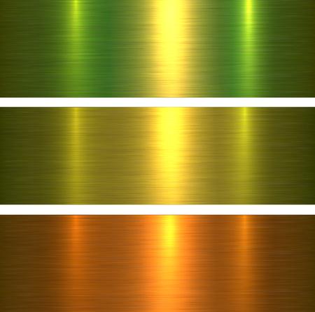 Metal textures green and gold brushed metallic background, vector illustration. Illustration