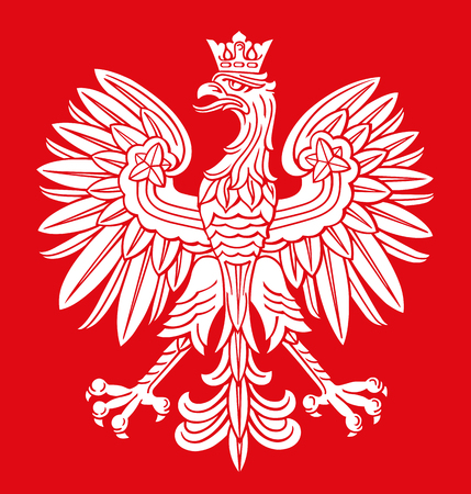 Poland eagle in white and red colors, as patriotic background, vector national emblem.