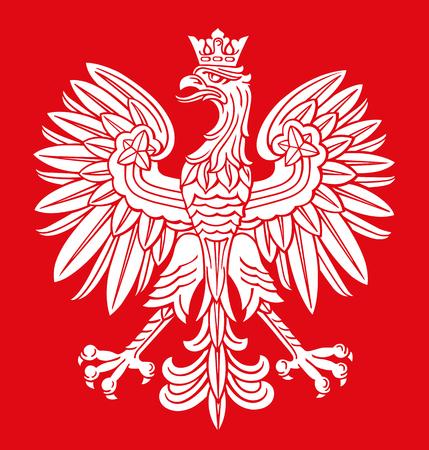 Polenadler in den weißen und roten Farben, als patriotischer Hintergrund, Vektor nationales Emblem. Vektorgrafik