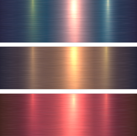 Metal textures pink and blue brushed metallic background, vector illustration.