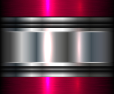 Metallic background silver pink, vector metal texture.