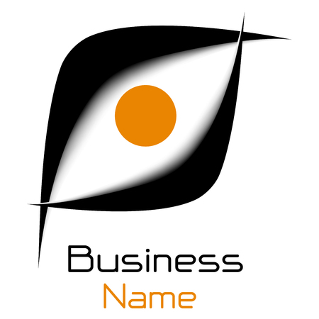 Logo business 3D icon, black and orange vector symbol.