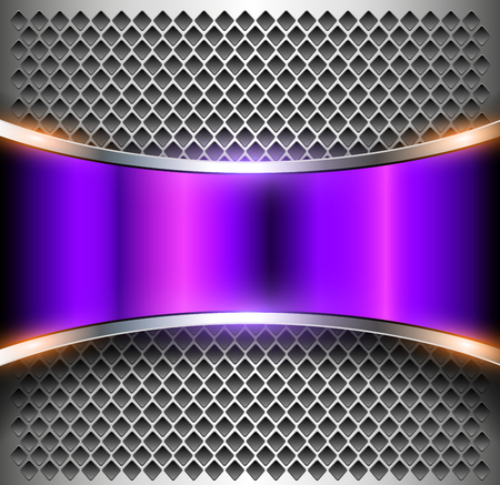 Metallic background purple banner over perforated silver pattern, vector metal shiny background
