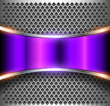 Metallic background purple banner over perforated silver pattern, vector metal shiny background Reklamní fotografie - 103981905