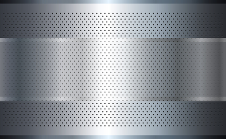 Metallic background silver with perforated pattern, polished steel texture. 向量圖像